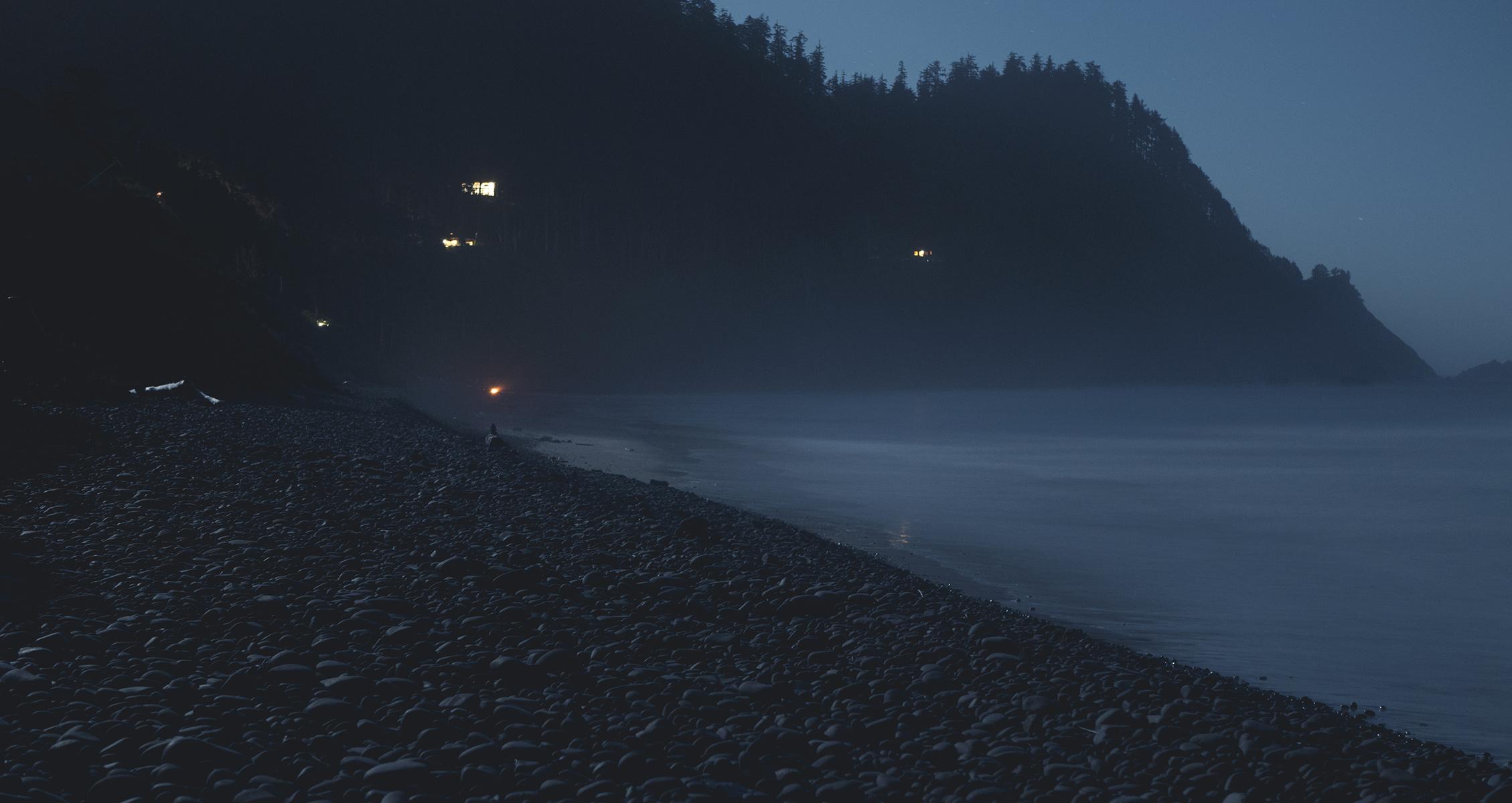 nightfall on the beach